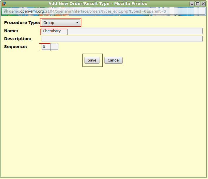 Procedures Module Configuration for Manual Result Entry